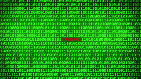 Spyware Revealing in Wall of Green Binary Code Binary Data Matrix Background Animation