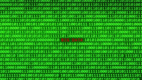 BIG DATA Revealing in Wall of Green Binary Code Binary Data Matrix Background Animation
