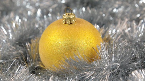 Yellow large New Year and Christmas decorations glass ball - decorations Footage