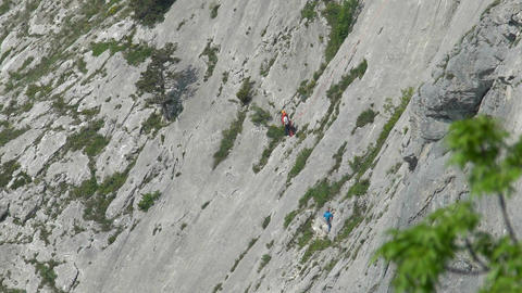 Climber's ascent to the mountain Footage