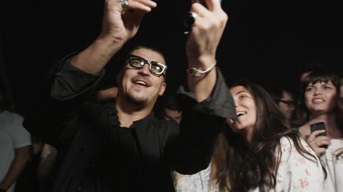 Famous Joyful Singer Makes Selfie with Happy Girl Fans Footage