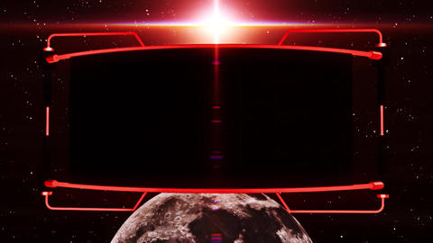 3D Red Screen Monitor on The Moon Intro Logo Background CG動画素材