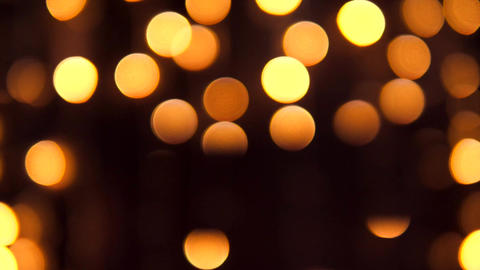 Yellow Bokeh of Christmas Tree Lights. Defocused Golden Led Bulbs Abstract Footage