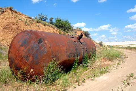 The old railway tank for transportation of mineral oil Photo