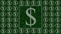 Decorative green and white video with dollar sign Animation