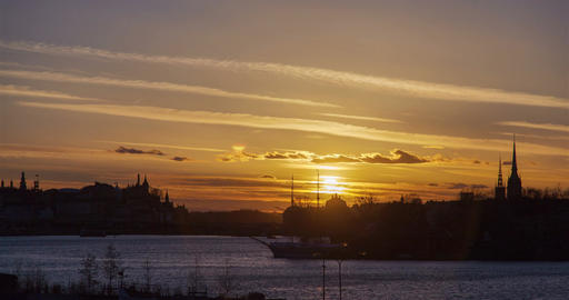 Stockholm city, Sweden Sunset under water time-lapse Beckholmen Footage