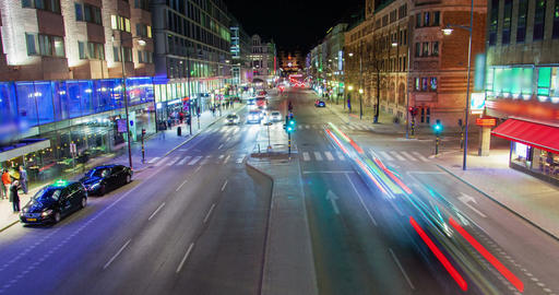 Stockholm, Sweden night road traffic timelapse Filmmaterial