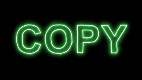 Neon flickering green text COPY in the haze. Alpha channel Premultiplied - Animation