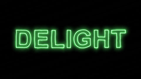 Neon flickering green text DELIGHT in the haze. Alpha channel Premultiplied - Animation