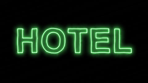 Neon flickering green text HOTEL in the haze. Alpha channel Premultiplied - Animation