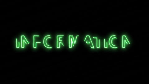 Neon flickering green text INFORMATION in the haze. Alpha... Stock Video Footage