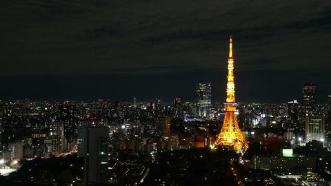 High angle motion timelapse of central Tokyo nightscape Footage