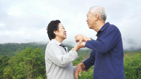 Video of Happy asian senior couple pointing, talking and walk through the park w Footage