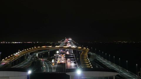 Nightlapse of traffic over the Umihotaru junction on the Tokyo Aqualine ビデオ