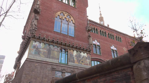 Images at main building of Hospital of the Holy Cross and Saint Paul, slide shot Footage