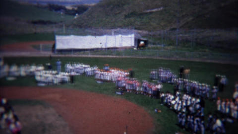 1972: Aerial of little league baseball team awards ceremony tournament Footage