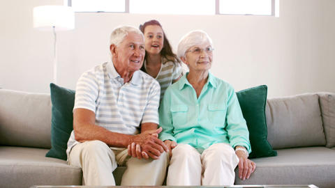 Granddaughter surprising her grandparents Footage