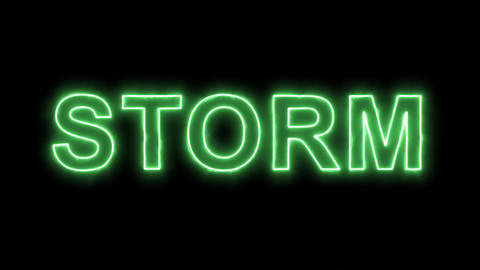 Neon flickering green text STORM in the haze. Alpha channel Premultiplied - Animation