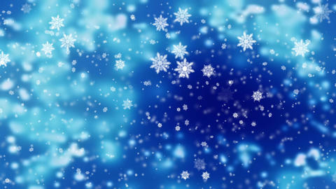 Snow falling over beautiful soft blue background with blurred lights, frosty Animation