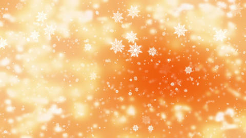 Snow falling over beautiful soft golden background with blurred lights, snowfall Animation