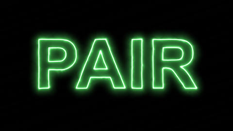 Neon flickering green text PAIR in the haze. Alpha channel Premultiplied - Animation