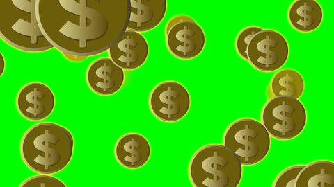 US dollar coins in gold flying on green screen, animated illustration, 4k video Animation