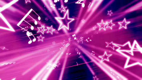 Stars and music notes pink abstract Footage