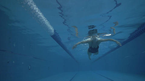 Young woman swimming breaststroke in swimming pool underwater view Footage