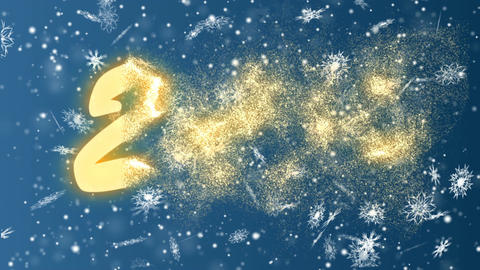 New Year 2018 from snowflakes on a blue background. Christmas and New Year Footage
