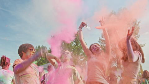 Celebrants Dancing During the Color Holi Festival Photo