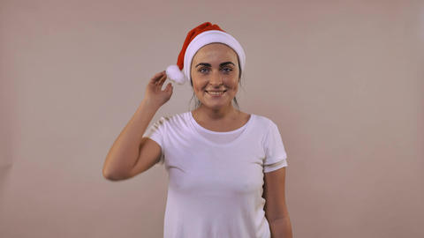 cheerful female posing christmas hat Footage