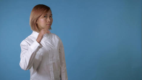 portrait beautiful korean girl shows sign listen Footage