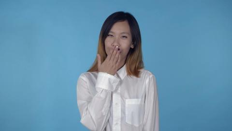 beautiful korean female shows kissing Footage
