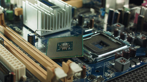 the CPU lies on the motherboard next to the slot chipset Footage
