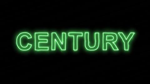 Neon flickering green text CENTURY in the haze. Alpha channel Premultiplied - Animation