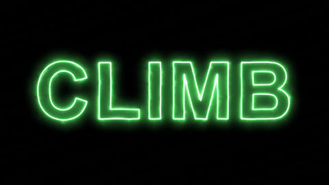 Neon flickering green text CLIMB in the haze. Alpha channel Premultiplied - Animation