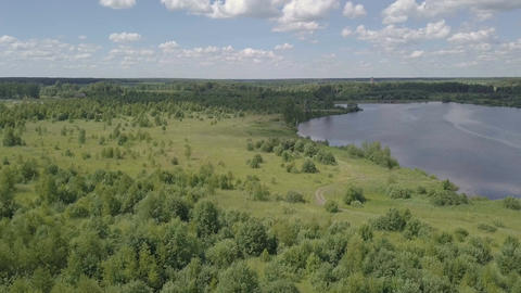 Drone view water surface river. Waves on surface river aerial view. Panoramic Live Action