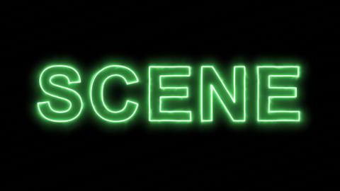 Neon flickering green text SCENE in the haze. Alpha channel Premultiplied - Animation