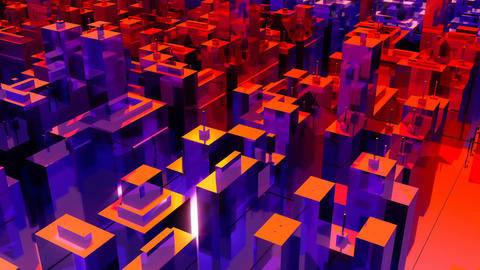 Camera moves through the abstract surreal city. Loopable Animation