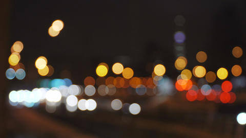 4k Abstract defocused night city traffic bokeh lights background Footage