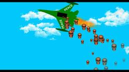 A cartoon plane bombs a bomb,Peace Image