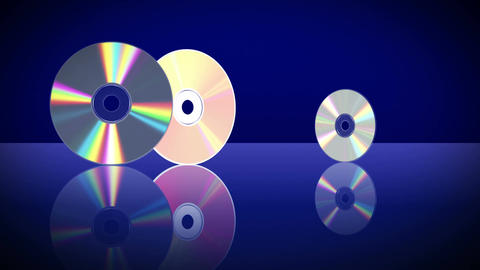 Five Laser Discs Appear One After Another. 4K. 3840x2160 Animation