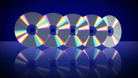 Five Laser Discs Appear One After Another. 4K. 3840x2160 Stock Video Footage
