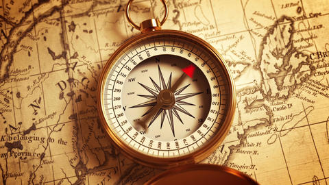 Compass On The Map Indicating Direction Animation