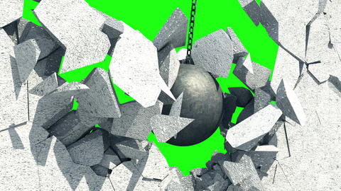 Metallic Wrecking Ball Shattering The White Wall. Green Screen Animation