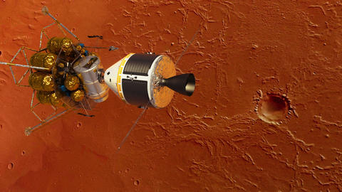 Undocking Of The Space Station And Lander Over The Planet Mars Animation