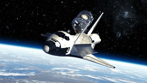 Space Shuttle And Module Of International Space Station Animation