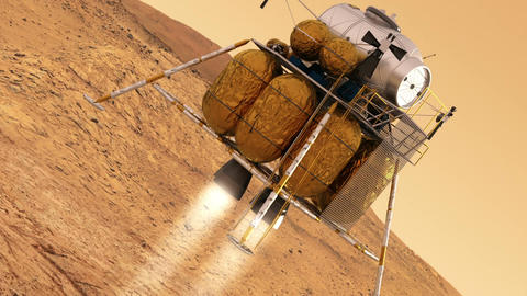 Descent Module Of Interplanetary Space Station Landing on Planet Mars Animation