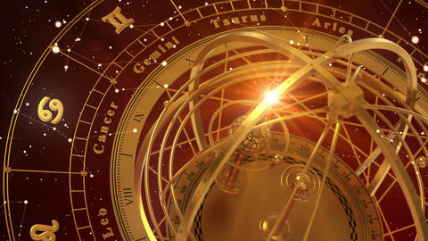 Zodiac Signs and Armillary Sphere On Red Background. Seamless Looped Animation