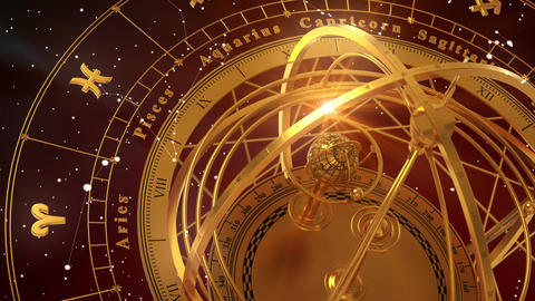 Armillary Sphere And Zodiac Signs On Red Background Animation